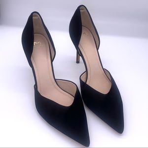MARC FISHER Tammy D'Orsay Black Suede Leather Pump